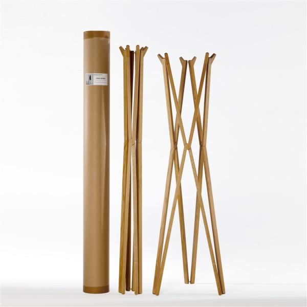 Treee Coatrack appendiabiti apribile in legno massello fornito con tubo riutilizzabile. Design Luciano Bertoncini