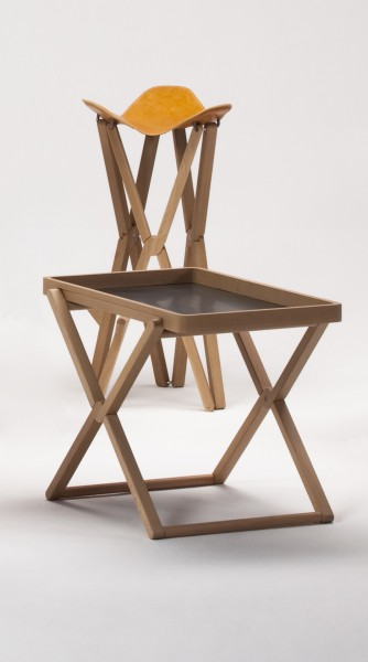 Treee Camp stool and Treee Tray table in solid wood. Designed by Luciano Bertoncini