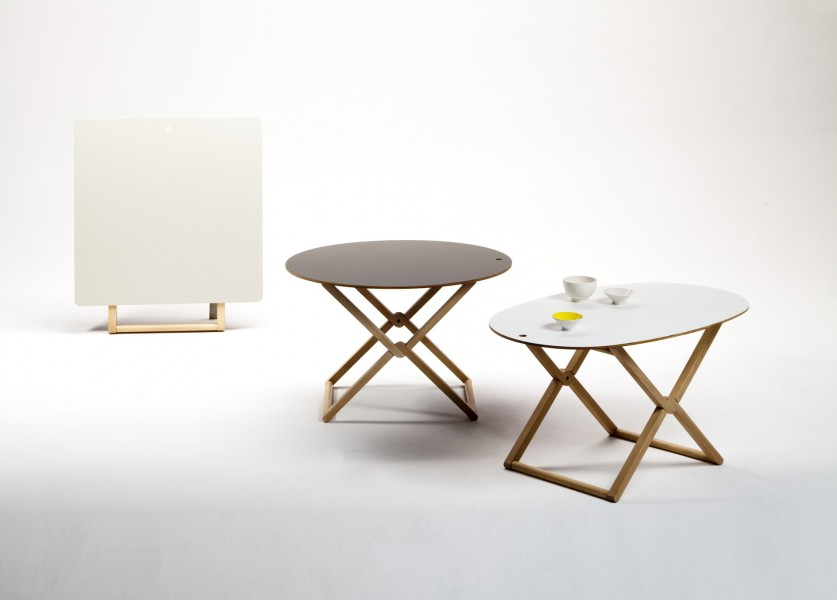 Treee Mini Tables family with unique foldable design by Luciano Bertoncini