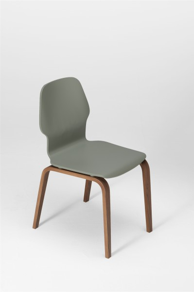 fred chair, walnut and cement grey. design studiolucianobertoncini