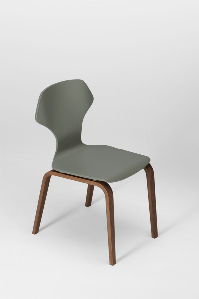 ginger chair. walnut and cement grey. design studiolucianobertoncini