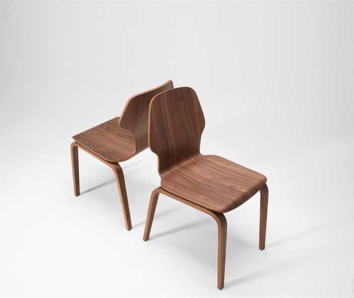 fred and ginger chair. walnut. design studiolucianobertoncini