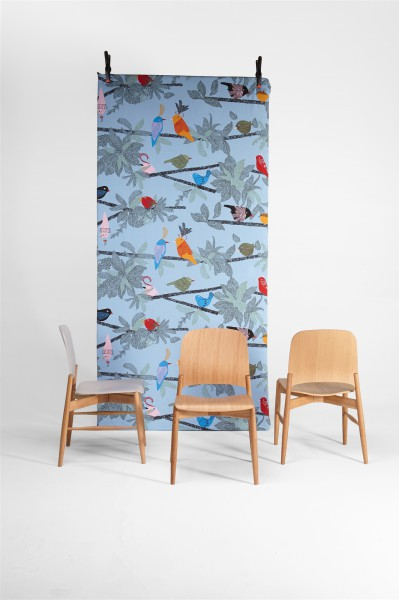 lipp chair. oak and little blue birds. design studiolucianobertoncini