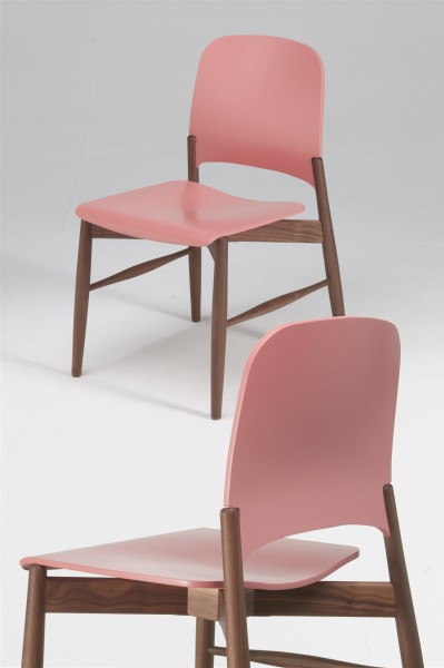 lipp chair. walnut and pink. design studiolucianobertoncini
