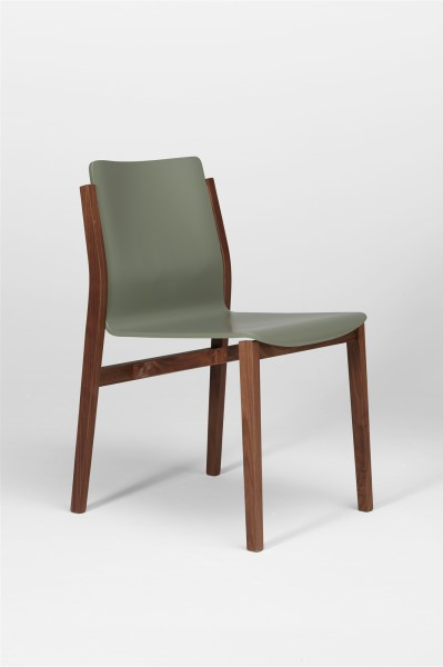 sticky chair. walnut and cement grey. design studiolucianobertoncini