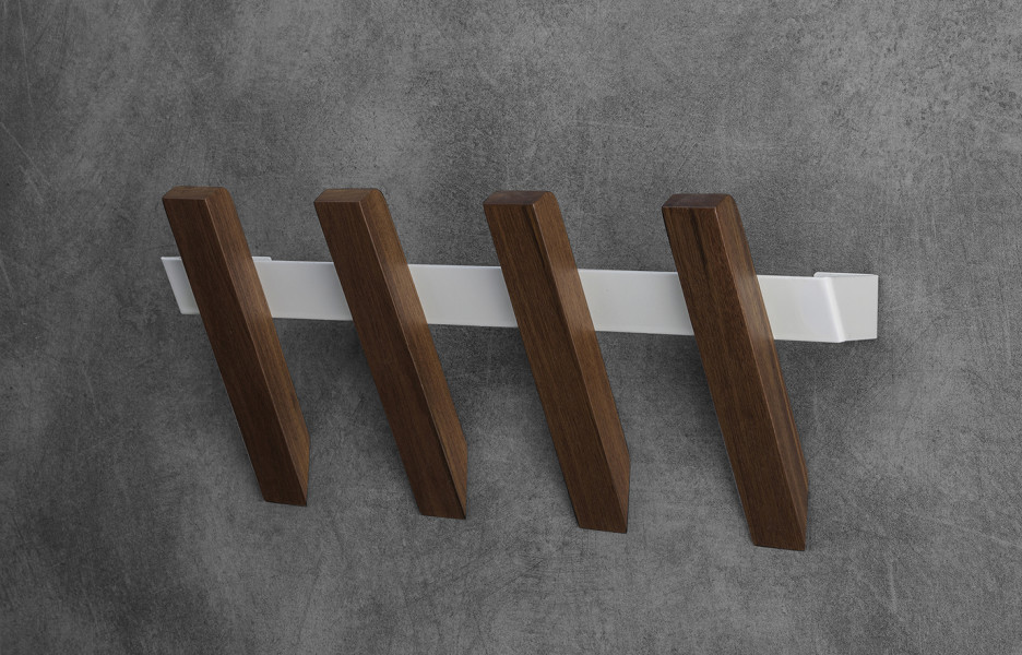 WOODSTACK wall hanger in solid natural walnut